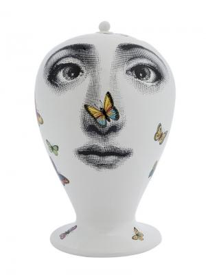 Ваза с принтом лица Fornasetti. Цвет: белый