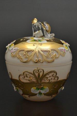 Конфетница с крышкой 10 см Bohemia. Цвет: белый