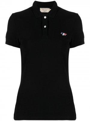 Рубашка поло с вышитым логотипом Maison Kitsuné. Цвет: черный