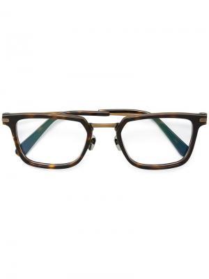 Очки с квадратной оправой Brioni. Цвет: черный