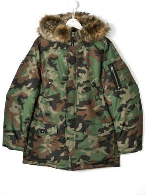 Камуфляжное пальто Ralph Lauren Kids. Цвет: зеленый