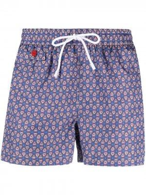 Плавки-шорты с кулиской и геометричным принтом Kiton. Цвет: синий