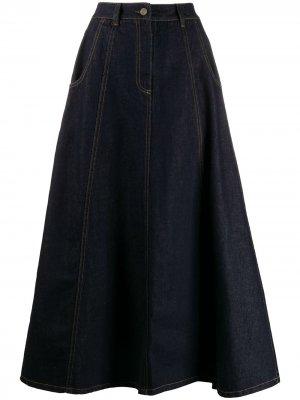 Джинсовая юбка с завышенной талией Société Anonyme. Цвет: синий