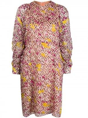 Платье миди с абстрактным принтом Lala Berlin. Цвет: розовый