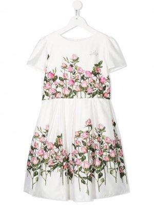 Платье А-силуэта с цветочным принтом Lesy. Цвет: белый