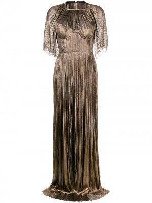 Платье макси Candance в стиле кейпа Maria Lucia Hohan. Цвет: золотистый