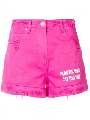 Джинсовые шорты с высокой талией эффектом потертости MSGM. Цвет: розовый