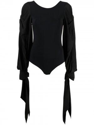 Боди с открытой спиной и завязками на манжетах Nina Ricci. Цвет: черный