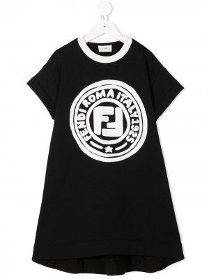 Платье-футболка с принтом Fendi Kids. Цвет: черный