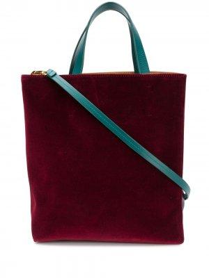 Бархатная сумка-тоут Museo Marni. Цвет: красный