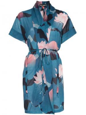 Пляжное кимоно с цветочным принтом Double Rainbouu. Цвет: синий
