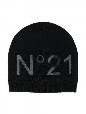 Шапка бини с логотипом Nº21 Kids. Цвет: черный