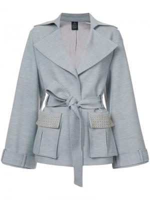 Куртка с накладными карманами и поясом Thomas Wylde. Цвет: серый