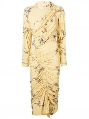 Платье с оборками Preen By Thornton Bregazzi. Цвет: желтый
