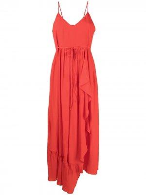 Платье асимметричного кроя с оборками TWINSET. Цвет: красный