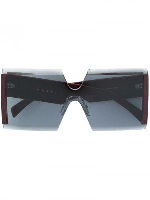 Солнцезащитные очки в квадратной оправе Marni Eyewear. Цвет: серый