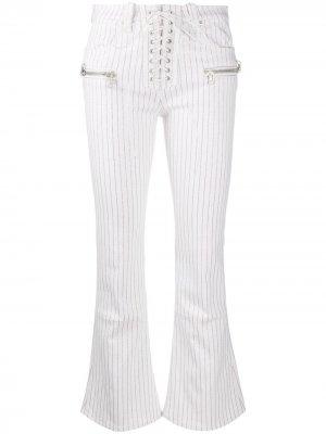 Расклешенные брюки в полоску UNRAVEL PROJECT. Цвет: белый