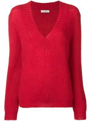 Трикотажный свитер с V-образной горловиной Nina Ricci. Цвет: красный