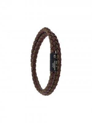 Плетеный браслет Tateossian. Цвет: коричневый