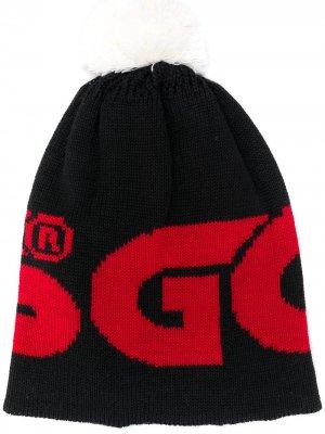Шапка с логотипом вязки интарсия и помпоном Gcds. Цвет: черный