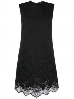 Платье-трапеция с кружевом Ermanno Scervino. Цвет: черный