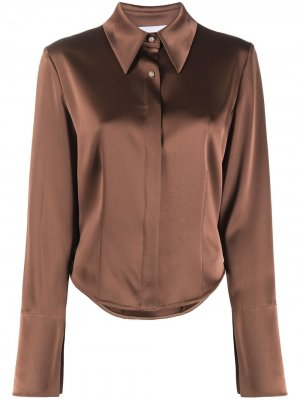 Рубашка с длинными рукавами Nanushka. Цвет: коричневый