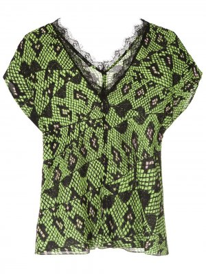 Фактурная блузка со змеиным узором Eva. Цвет: зеленый