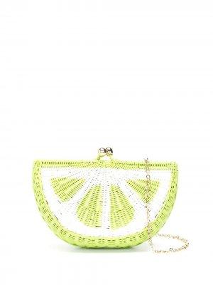 Соломенный клатч Lime SERPUI. Цвет: зеленый