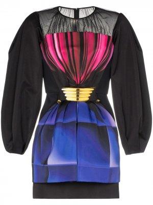 Платье мини с кулиской и обемными рукавами Mary Katrantzou. Цвет: черный