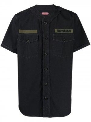 Рубашка в стиле милитари без воротника Maharishi. Цвет: черный