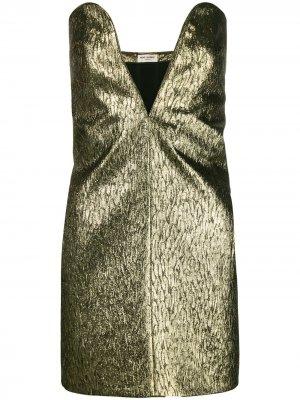 Textured mini dress Saint Laurent. Цвет: золотистый
