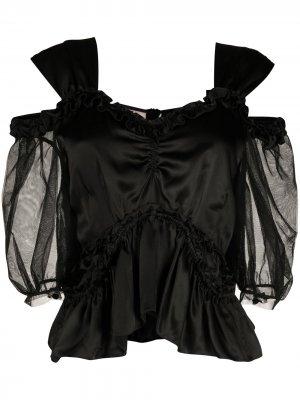 Блузка с открытыми плечами и оборками Simone Rocha. Цвет: черный