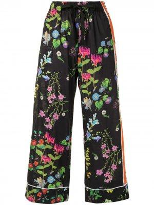 Пижамные брюки с цветочным принтом Cynthia Rowley. Цвет: черный