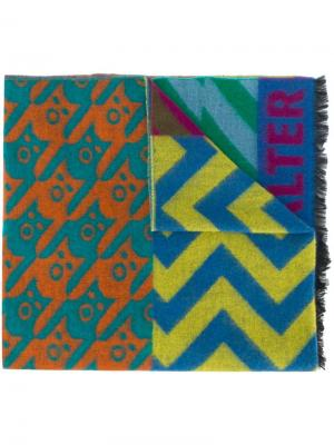 Mixed weave patchwork style scarf Walter Van Beirendonck. Цвет: зеленый