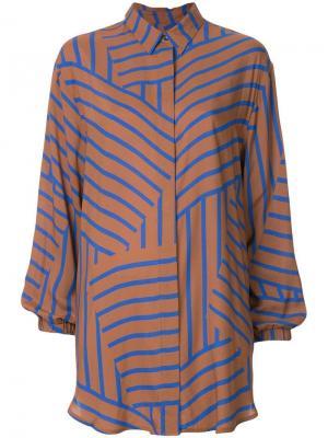 Длинная рубашка в полоску Mads Nørgaard. Цвет: коричневый
