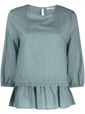 Многослойная блузка в полоску Peserico. Цвет: зеленый