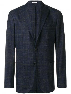 Three-button check blazer Boglioli. Цвет: синий