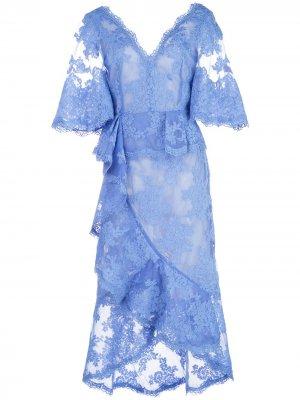 Кружевное платье миди с V-образным вырезом Marchesa. Цвет: синий
