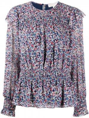 Блузка с оборками и цветочным принтом Michael Kors. Цвет: синий