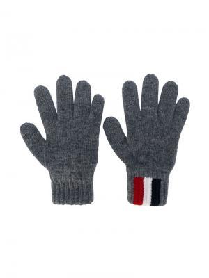 Перчатки с логотипом Moncler Kids. Цвет: серый