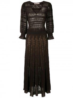Вязаное платье миди Melody Cecilia Prado. Цвет: коричневый