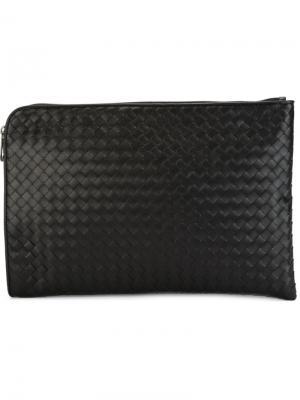 Плетеная сумка для ноутбука Bottega Veneta. Цвет: черный