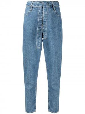 Зауженные джинсы с поясом 3x1. Цвет: синий