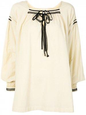 Блузка со складками и шнуровкой Renli Su. Цвет: желтый