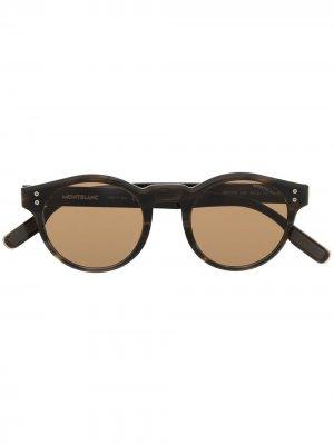 Солнцезащитные очки в круглой оправе с затемненными линзами Montblanc. Цвет: коричневый
