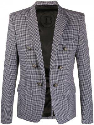 Пиджак в ломаную клетку Balmain. Цвет: белый