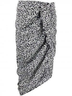 Юбка с цветочным принтом Veronica Beard. Цвет: черный