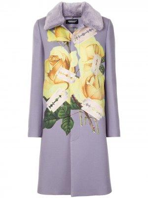 Однобортное пальто с цветочным принтом UNDERCOVER. Цвет: фиолетовый