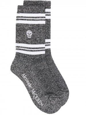 Трикотажные носки Alexander McQueen. Цвет: золотистый