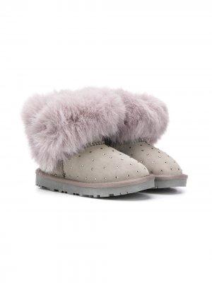 Декорированные ботинки с искусственным мехом Monnalisa. Цвет: серый